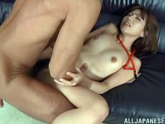 Lovely Miyuki lets her boss finger her hairy pussy before licking it as she yells in pleasure then she gives his hard cock a hand job then they fuck in the office.