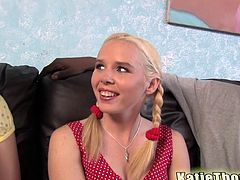 Salacious blonde Katie Thomas and her hot GF are trying hard to please a black guy. They drive him crazy with a blowjob and get their twats smashed.