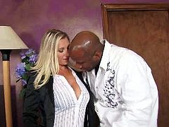 Hell seductive Caucasian MILF Devon Lee has got juicy jugs and sexy booty. She gets her soaking wet pussy eaten out by thirsty black stud. Then she gives solid blowjob.