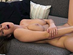 A gorgeous fuckin' brunette spreads her legs and fingers her fuckin' pink ass gash in this hot ass fuckin' solo scene right here!