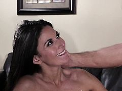 Gorgeous milf brunette Nikki Daniels was flirting with a younger man. She was kissed and groped and licked into her wet trimmed snatch. She bend on the couch spreading her sweet legs getting ready for hard fuck.