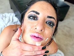 Busty raven is a true master in engulfing big cocks and enjoying jizz on her face