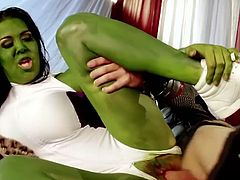 Amazing brunette with green skin gets her dripping pussy poked and gets a cumshots in her mouth. Have a look at this chick in Pinko HD xxx video.