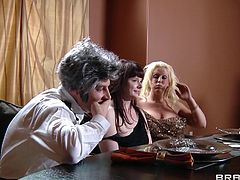 Take a look at this hot scene where the busty Eva Karera is fucked in her kitchen by a stud while the rest of her guest wait at the dinner table.