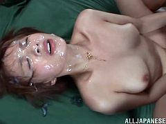 A short-haired Japanese girl takes off clothes and gets her pussy licked. She gets fucked and also facialed massively. Several dudes in underwear watch at Arisa. She loves to have sex in public.