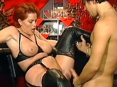 Mature in black lingerie loves keeping her legs wide open for this younger dick to slam her better