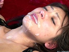 Horny Japanese tart Saki Kouzai wearing a latex overall is having fun with a guy indoors. She pleases the guy with a deepthroat blowjob and lets him drill her twat from behind.