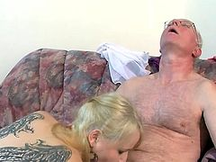 Busty angel uses her skills in cock sucking and fucking to dazzle old male in staggering porn show