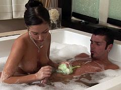 Her mind thinks only at his long dick getting hard and smashing her wet pussy in hardcore massage