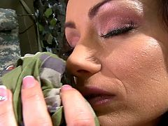 Black haired bodacious chick visited her military BF. She waited him in tent. She stripped and smelled her socked at first. Then she put that sock on her hand and set to finger her kitty meanwhile...Look at that freaky babe in DDF Network sex clip!