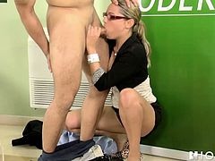 Skanky sexretary Bianca kneels down taking hard dick in her mouth. She gets face fucked brutally before taking solid pecker in her tight pussy hole in a missionary position. Horny boss screws her bad right in the office.