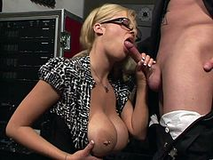 Check out this hardcore scene where the busty blonde milf Katie Kox sucks on this guy's big cock before being fucked inside a recording studio.