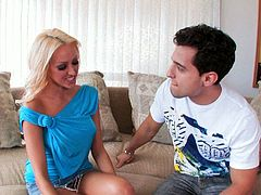 Attractive blond haired chick Breanne Benson sucks the dick
