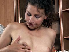 Since she hasn't had sex for a while, a horn made brunette mature has nothing to do but masturbate with her skillful fingers, which she uses to rub her ruined soaking twat and later maul her small baggy tits.