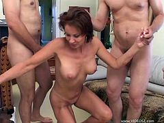 Press play on this gangbang scene where the busty Vanessa Videl is fucked by horny fellas that leave her out of breath and facialized.