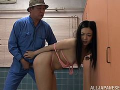 Take a look at this hot scene where this sexy Japanese babe plays with her pussy before almost being fucked by this old man and knocking him out.