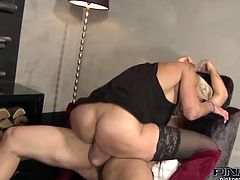 Voluptuous light haired milfie Klarisa Leone takes a long ride on massive dick in cowgirl pose. Then busty goddess kneels down and takes massive load of cum on her face.