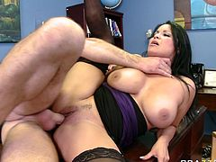Horny and sexy dark haired bitch with nice boobs gets her dripping pussy fucked hard. Have a look at this chick in Brazzers Network sex video.