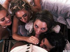 Sexy and busty milfs Jenna Presley, Juelz Ventura, Krissy Lynn and Nicole Aniston, wearing medieval dresses are having fun with Keiran Lee indoors. They suck Keiran's wang and get banged doggy style.