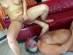 Take a look at this hot scene where the slutty Kitty Rich sucks on this old man's hard cock before peeing in his mouth and ending up with a messy facial.