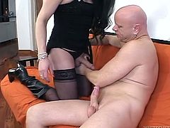 Lusty shemale in stockings gets her hard cock sucked by bald headed dude. She is sextractive ladyboy and her sucking skills are awesome. Just enjoy watching sex scene for free.