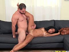 Passionate black porn model gets nailed missionary style. Then she gets on top of hard stick bouncing her booty intensively.