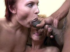 Raunchy hookers Tara Lynn Foxx and Jamey Janes fuck furiously in hardcore interracial porn scene. The blonde one getting throat fucked brutally while the other one is getting her cunt eaten out from behind.