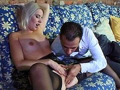 Shiela is a sexy blonde having her pink pussy eaten out by this guy before she's fucked silly while wearing stockings.