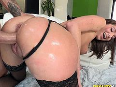 Sex appeal brunette in stockings Vivie jerks off big cock and sends it deep in her throat. She is fond of king size dongs that is why she does her best in this steamy blowjob sex video.