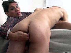 Kinky dark haired shemale gets her dick sucked on the bed