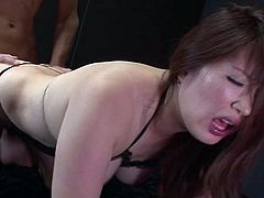 Torrid brunette girl sucks cock like tasty lollipop. She also polishes dude's balls. Then, curvaceous mommy stands on her all four taking hard dick deep up her snatch from behind. She gets fucked in a doggy position.
