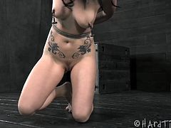 Brunette babe Veruca James is really a good little slave babe and she is ready to get nice slave treatment.Checkout that beautiful tits, a tight ass, and flexible body all make her an ideal candidate for the kind of training and rough treatment we specialize in and she craves.Enjoy her master toying her with big black dildo.