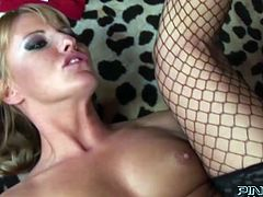 Feverish blonde hooker Viktoria Blond in fishnet stockings fucks her cunt with dildo while big dick drills her asshole missionary style. Then nasty bitch takes it up her loose cornhole in cowgirl pose.