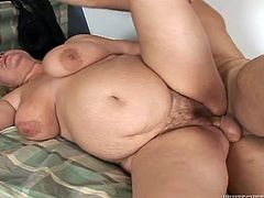 Big fat mommy moans with passion taking fresh dick up her stinky hairy snapper in sideways pose. Fat slut gets on top and rides her slut in cowgirl pose.