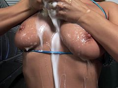 Gorgeous Rita Faltoyano poses for a camera in a bikini. Then this superb babe gives a sloppy blowjob and gets banged by a big cock guy.