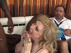 Nina Hartley is banging with a black cock