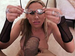 Prepare your cock for this blonde cougar, with big love pillows wearing glasses, while she performs a great blowjob until she gets cum all over her.