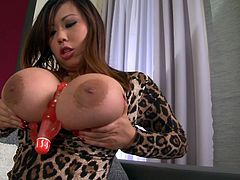 This extremely hot sex video from DDF Network deserves your attention. She teases you with her massive impressive fake boobs and sucks her favorite sex toy.