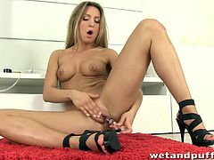 Amazing porn star in a sexy panties fingers her cute shaved pussy the screams as she masturbates her pussy with a vibrator