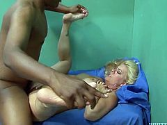 Tall and curvy blonde prostitute gets her salty hairy cunt brutally fucked by big black dick doggystyle. Black boy licks that hairy snapper and fucks voluptuous bitch missionary style.
