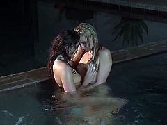 Aspen Rae and Lena Nicole go swimming during nighttime. They are naked and they can't resist the temptation of sucking each others nipples and kissing on the lips.