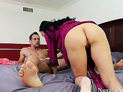 Asian with massive jugs and clean beaver lets Johnny Castle fuck her pussy