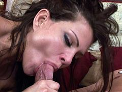 Appealing milf with astounding boobs is close to orgasmic pleasures by having rough sex with younger stud