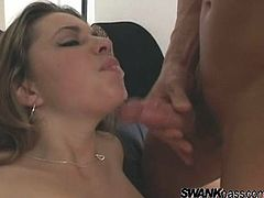 Watch this hardcore scene where the beautiful Cherry Jul is eaten out by this guy before she blows his hard cock and rides him.