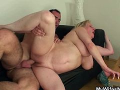 My Wifes Mom brings you a hell of a free porn video where you can see how this chunky blonde mature gets banged by a young stud into a breathtaking explosion of pleasure.
