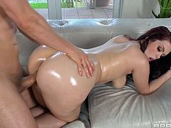 Beautiful brunette Ryan Smiles is getting naughty with Erik Everhard indoors. She lets the dude oil and knead her terrific well-rounded ass and they have sex in the cowgirl position.