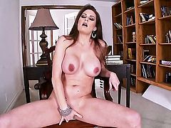 Allison Moore with giant hooters and shaved beaver has some time to masturbate on cam