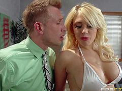 Big boobed stripper Kagney Linn Karter in white bikini turns guy on to the point of no return and handles his hard dick like a pro. She licks and sucks his rock solid dick before he sticks it in her tight pornstar pussy.