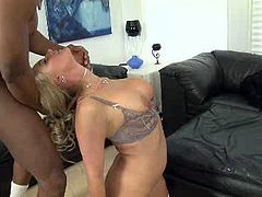 Voracious blonde hooker with big boobs Phoenix Marie is experienced porn actress with huge experience. She rides BBC in cowgirl position before getting rammed bad missionary style.