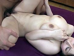 Voluptuous Japanese slut serves a bunch of horny dudes in hardcore gangbang porn clip. She facesits thirsty guy while sucking engorged dicks in turn.